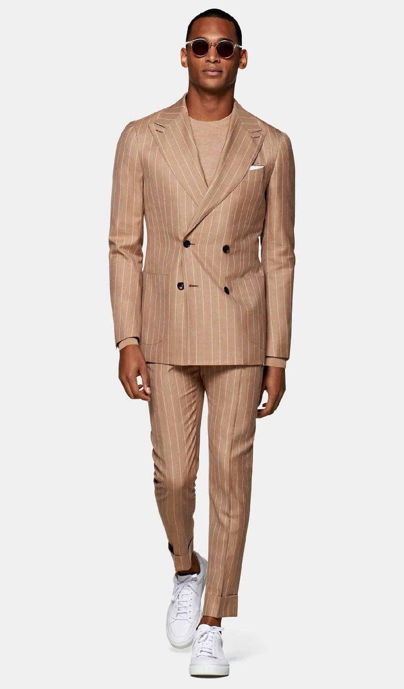 Lightweight beige-tone pinstripe suit