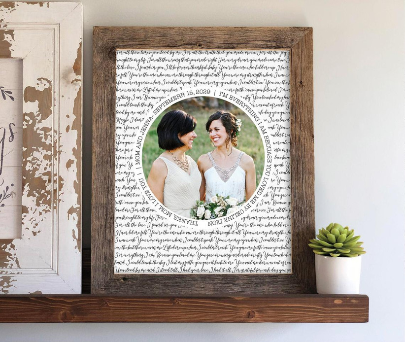 Wooden framed song lyric and photo art print