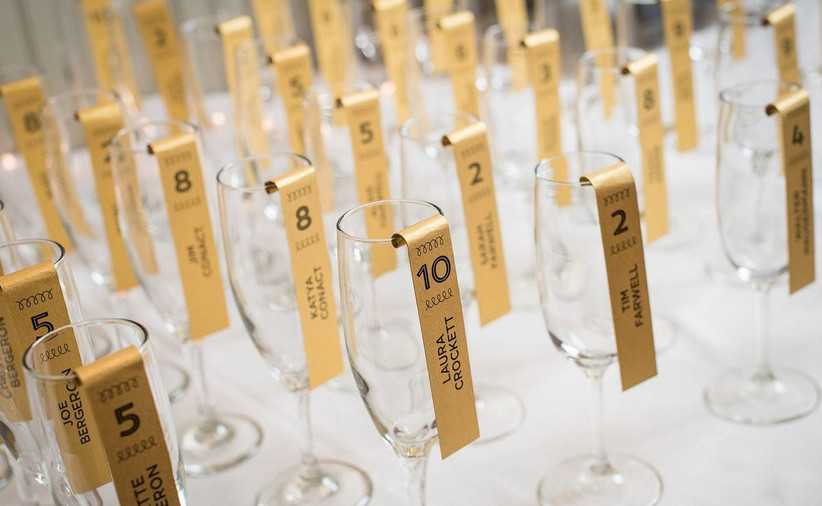 champagne flute wedding escort cards