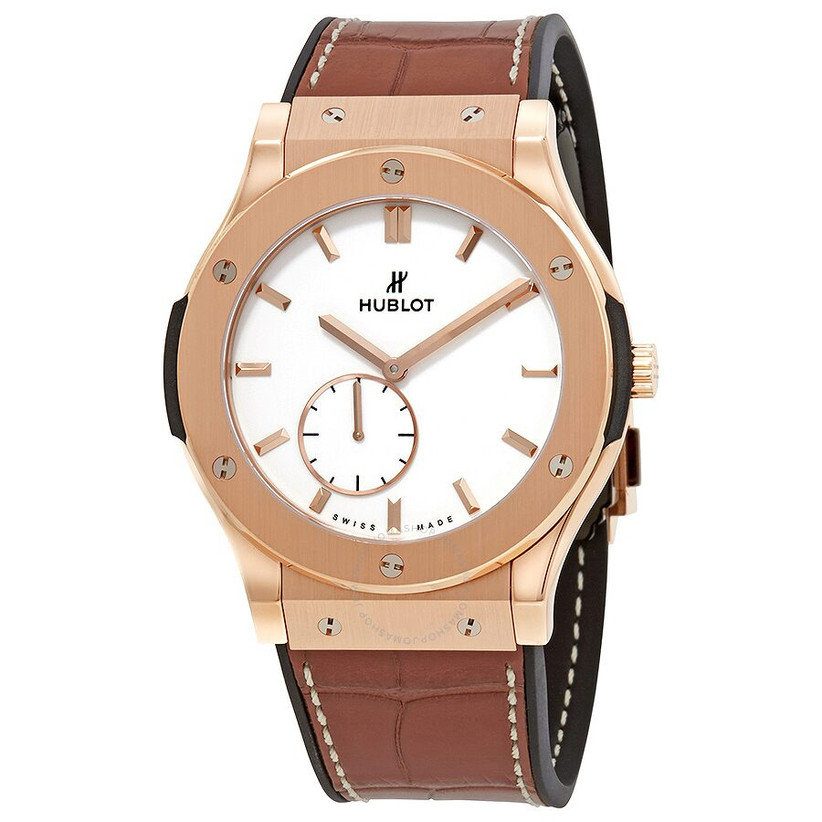 Hublot rose gold and leather engagement watch