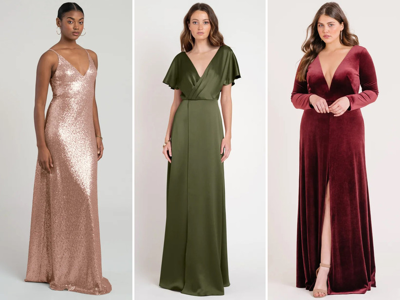 Collage of bridesmaid dresses left to right: rose gold sequin maxi, sage green satin dress, burgundy velvet maxi with sleeves
