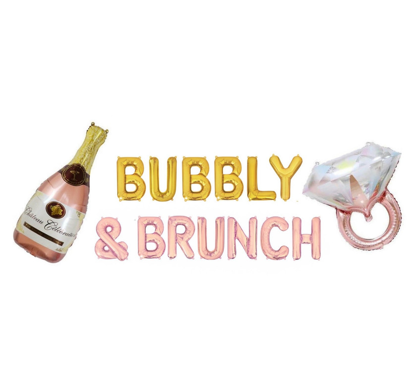 Yellow and rose gold Bubbly & Brunch balloons with champagne bottle and engagement ring balloons