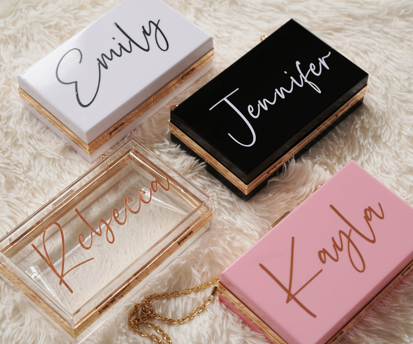 Personalized acrylic clutches gifts for bridesmaids