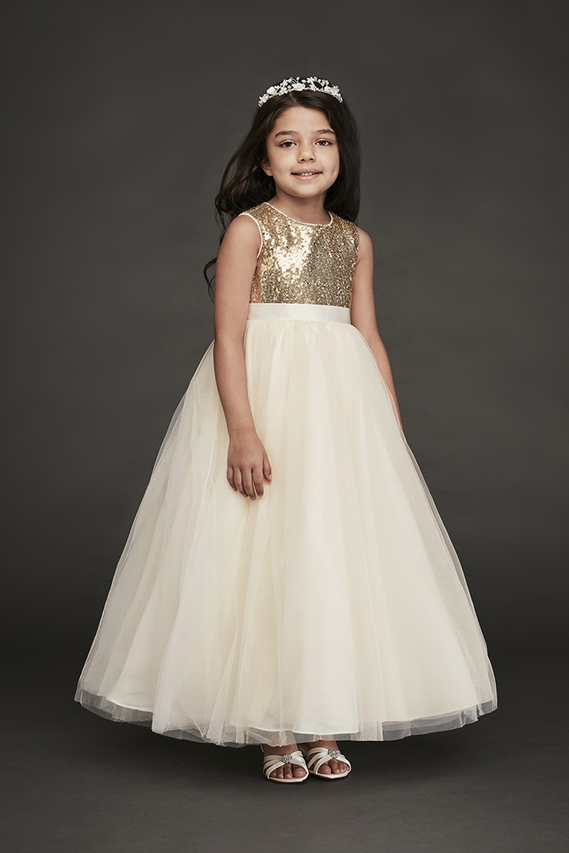 sequin flower girl dress davids bridal