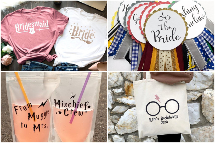 collage of four different harry potter bachelorette party ideas including reusable drink pouches, tote bag, badges, and t-shirts