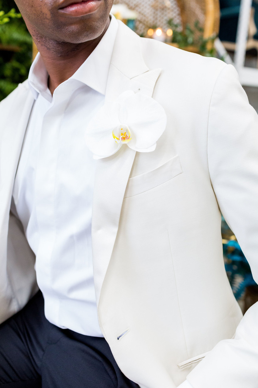white phalaenopsis orchid boutonniere