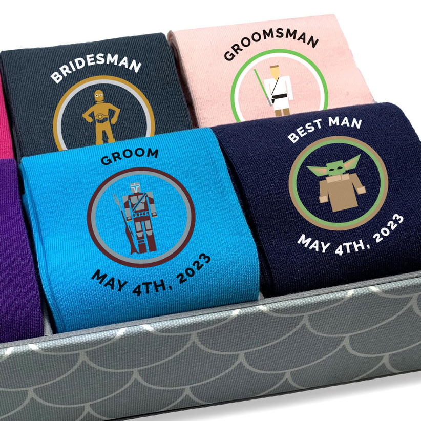 Selection of Star Wars socks personalized with wedding titles and names