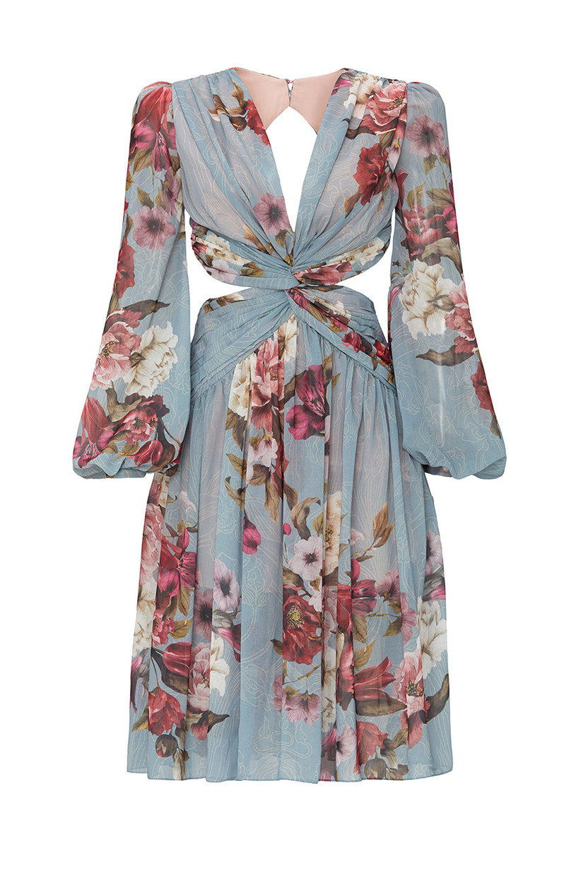 floral print chiffon engagement party dress with long bishop sleeves and side cutouts at waist