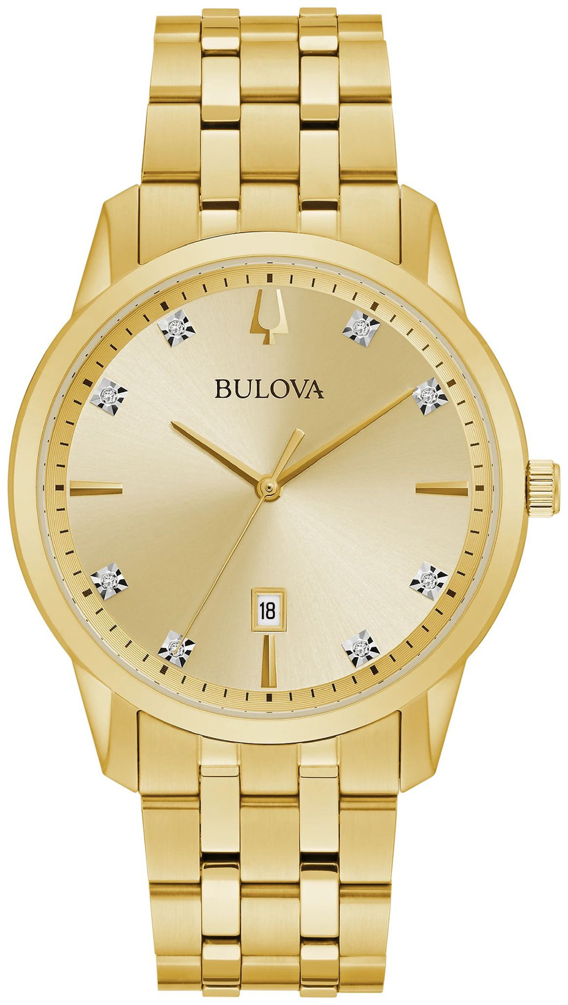 Gold-tone stainless steel wristwatch with diamonds
