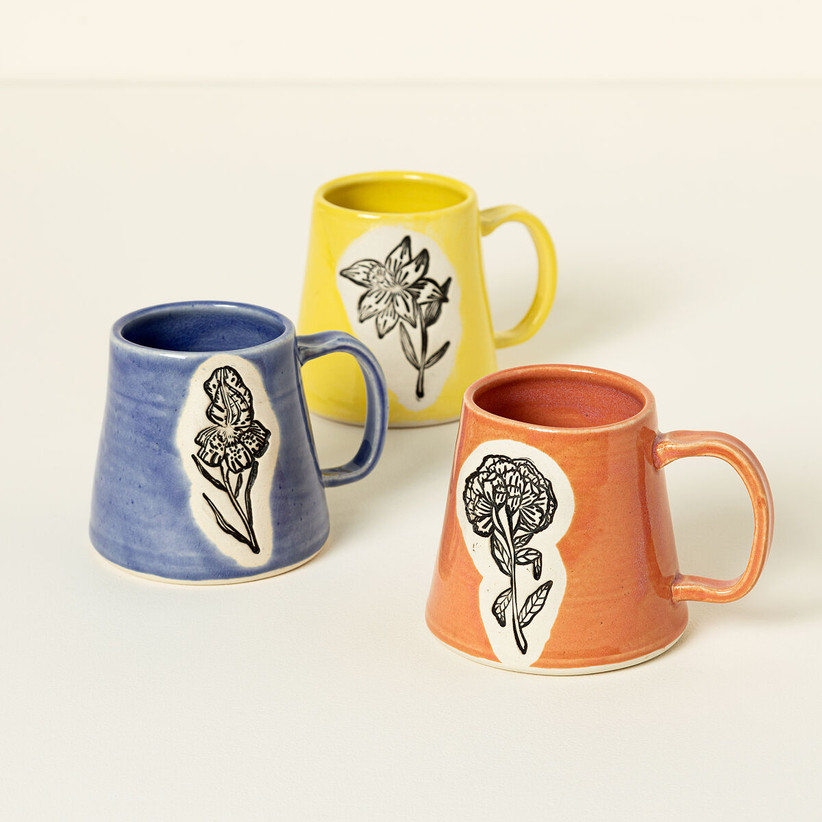 Three birth flower-themed mugs in different colors daughter-in-law gift
