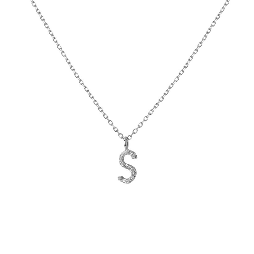 10 year anniversary gift diamond initial necklace in white gold setting