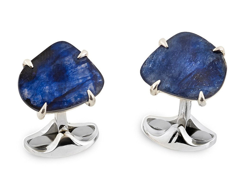 Natural sapphire and sterling silver cuff links
