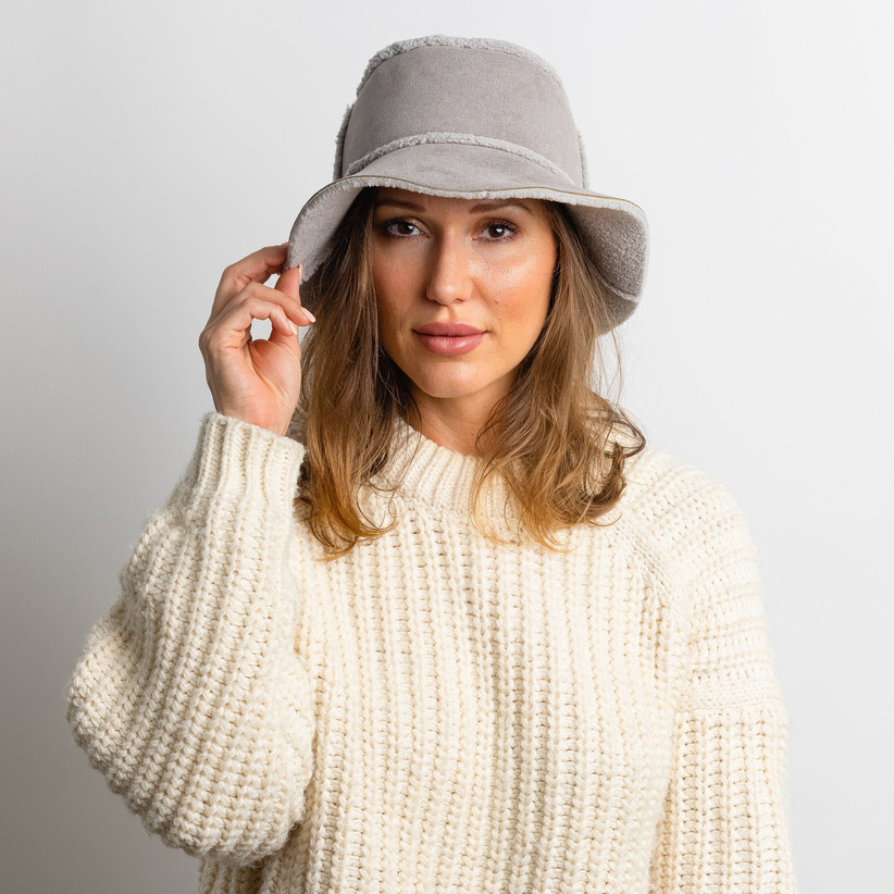 Faux suede and shearling bucket hat gift for sister-in-law