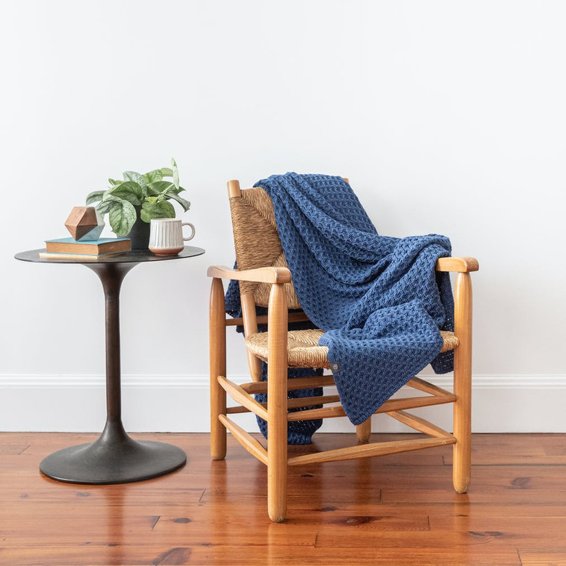 Blue knit throw blanket gift for daughter-in-law