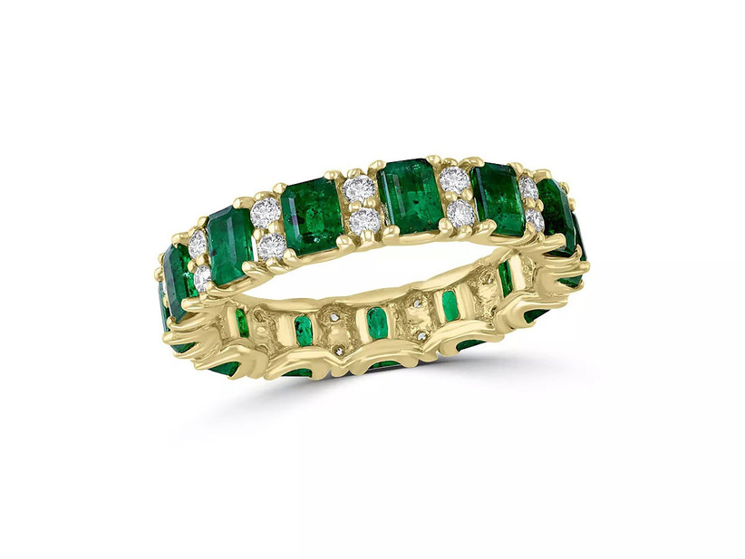 Emerald and diamond yellow gold ring 55th anniversary gift