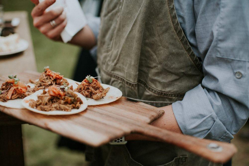 tacos on a wooden tray