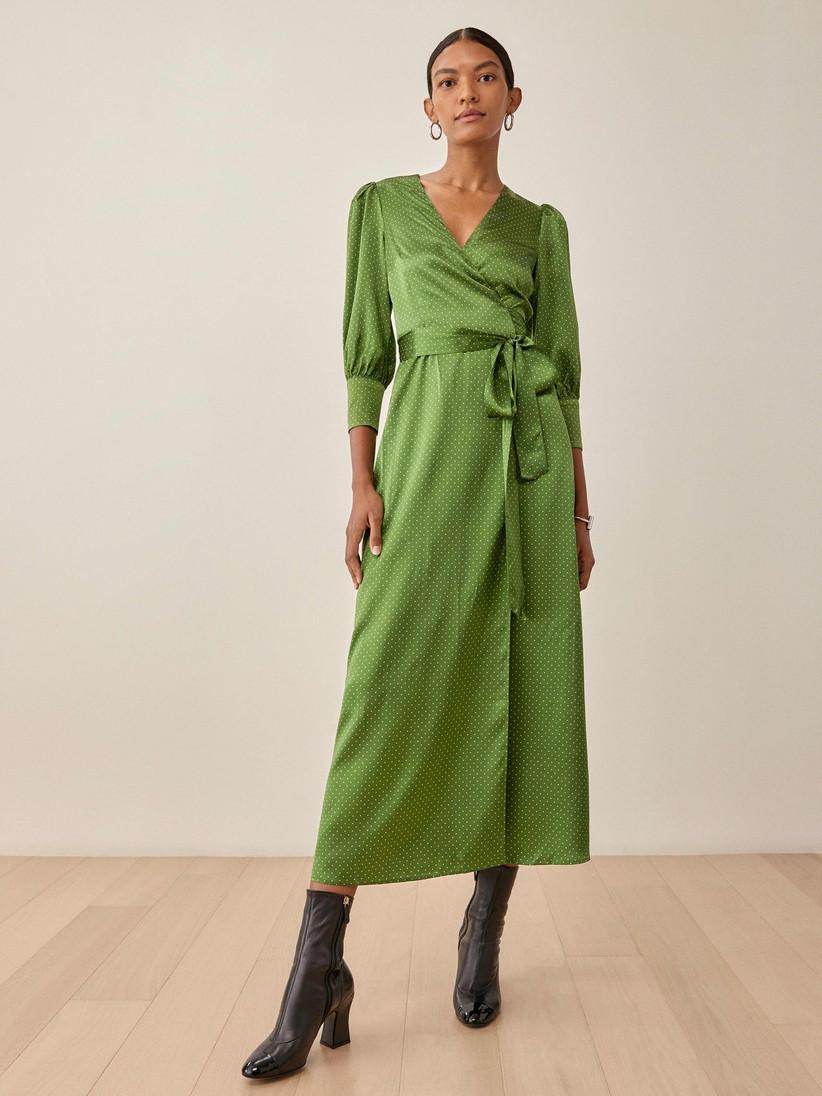 Peridot green polka-dot satin dress