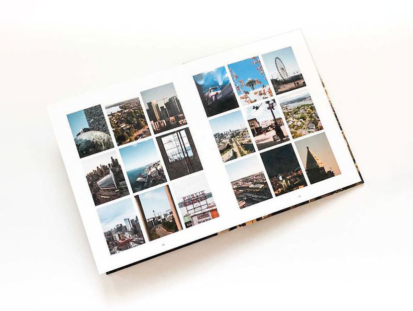 Photo book open to show collage of images