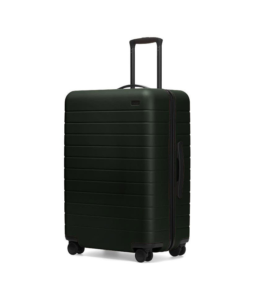 Dark green Away suitcase