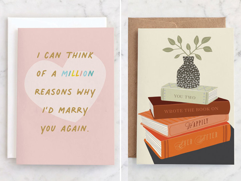 Collage of two anniversary cards from Minted