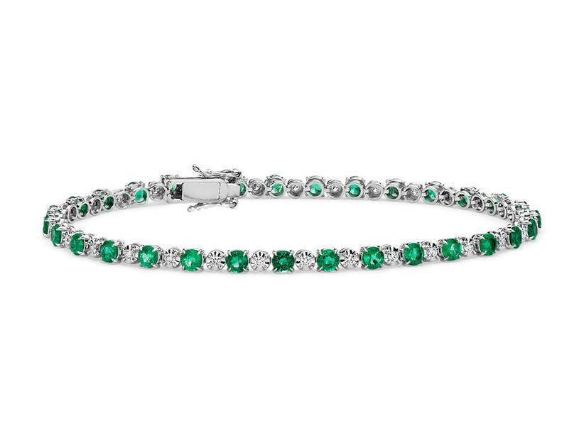 Emerald and diamond tennis-style bracelet