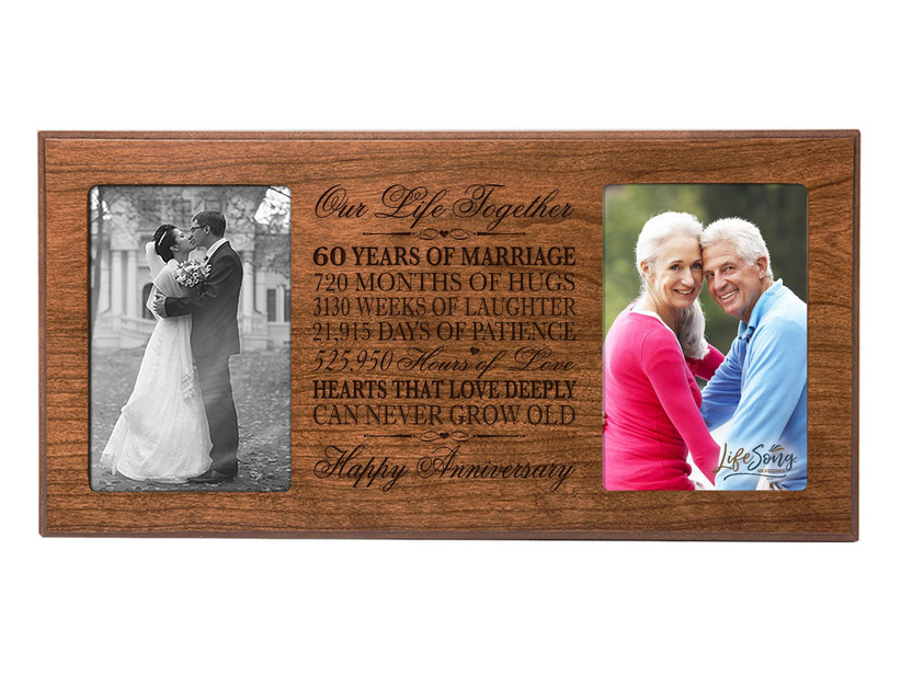 Engraved 60th anniversary photo frame