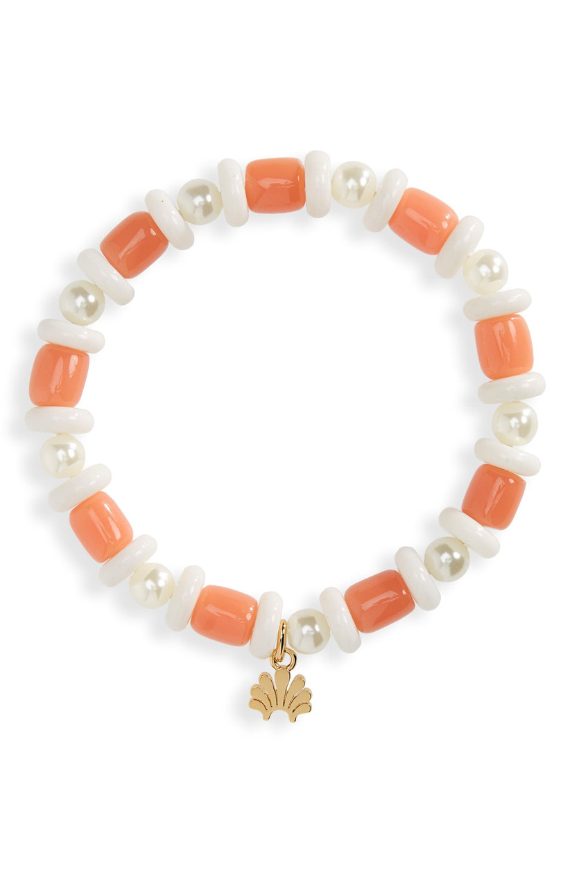 Coral beaded bracelet with imitation pearls