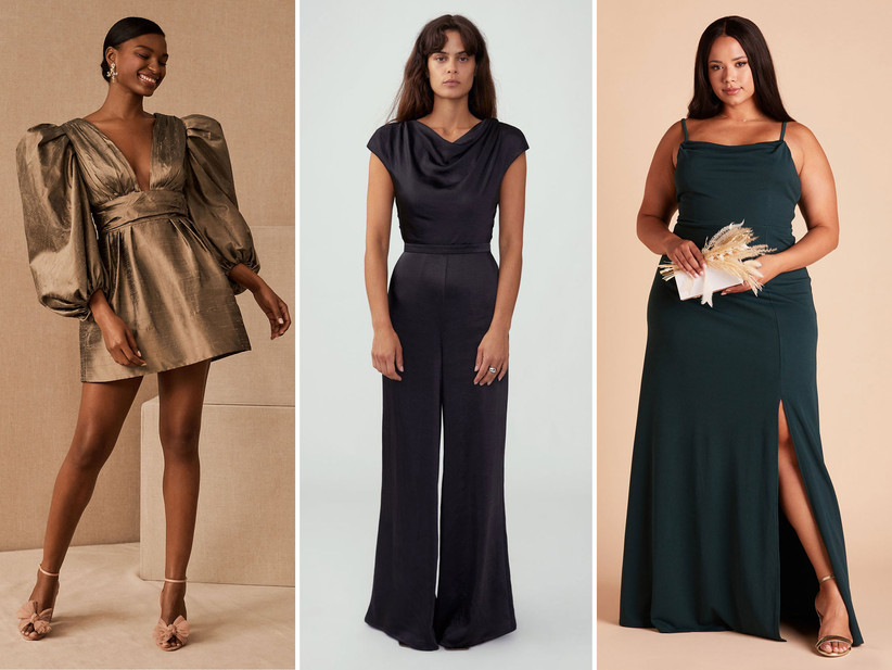 Collage of three winter wedding guest outfits including metallic mini dress, black jumpsuit, and emerald maxi dress