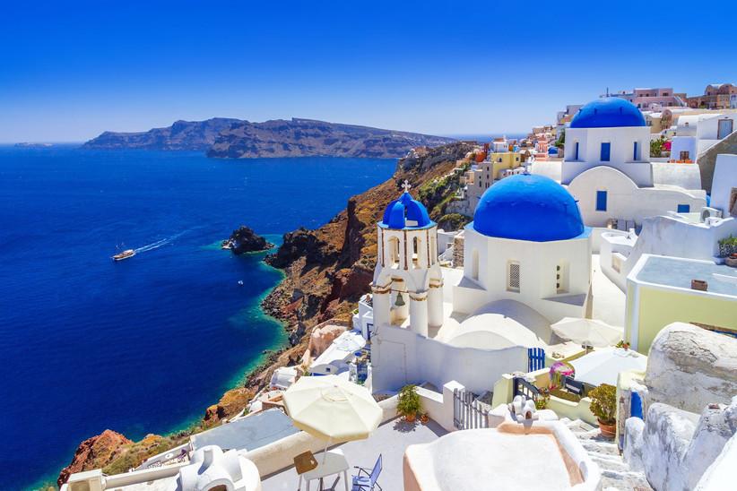 View of beautiful town in Santorini