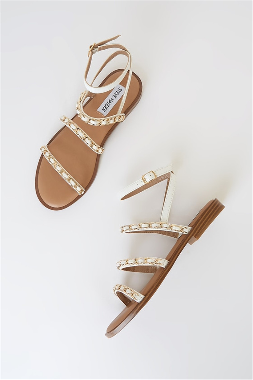 flat beach wedding sandals with gold and white chain straps
