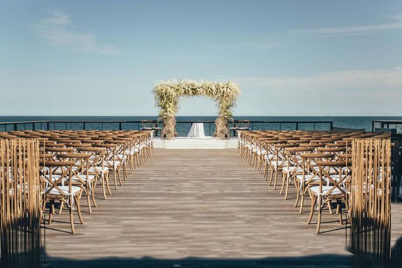 oceanfront deck wedding ceremony