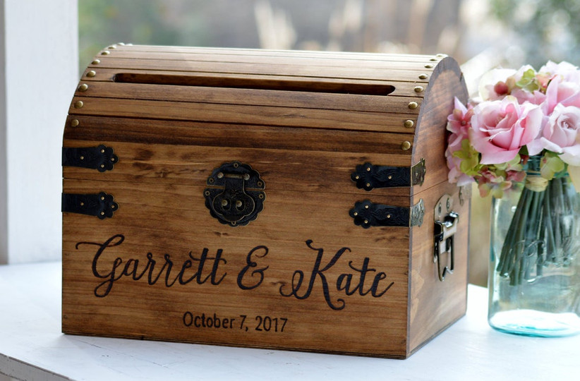 miniature wooden trunk wedding card box engraved with names and wedding date
