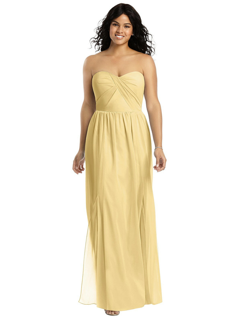 Model wearing strapless pastel yellow bridesmaid dress with sweetheart neckline
