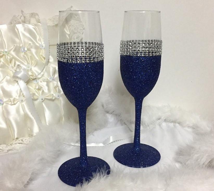 Navy glitter-stemmed wedding champagne flutes