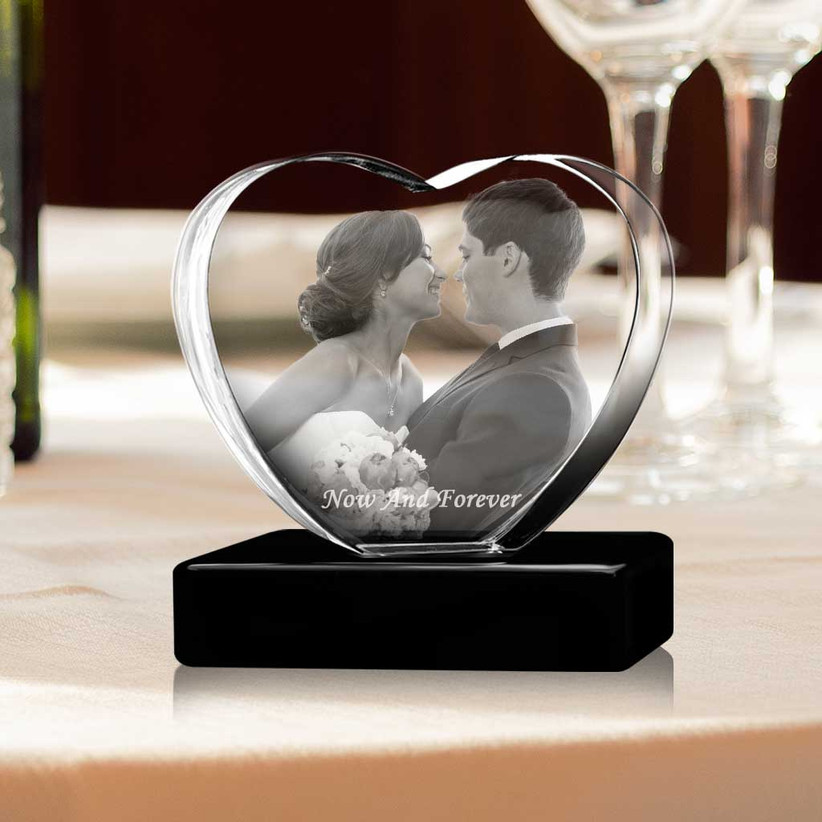 Heart-shaped crystal photo block on black stand