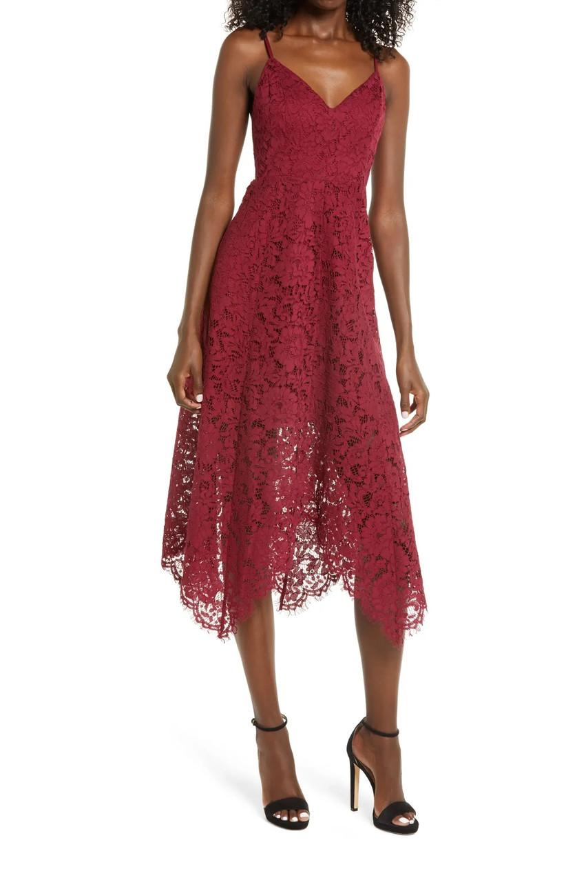 Burgundy lace rehearsal dinner dress