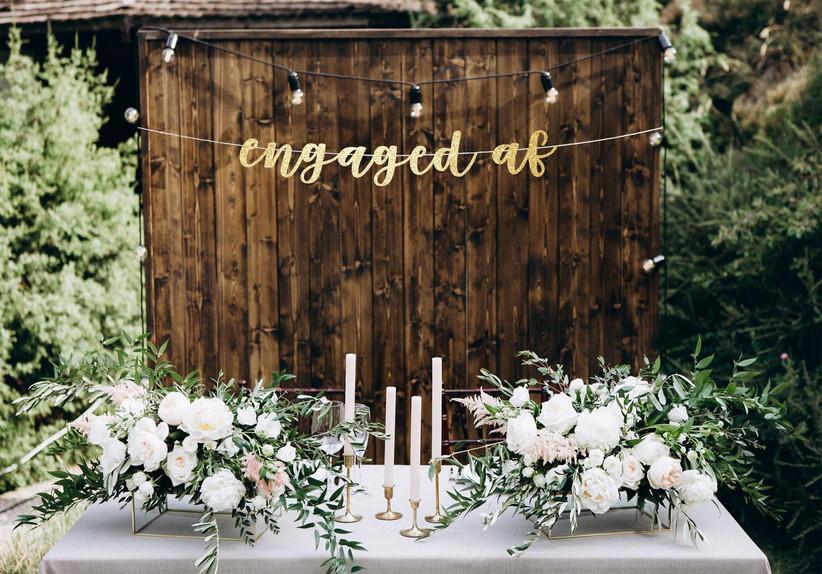 Gold Engaged AF banner engagement party decoration idea