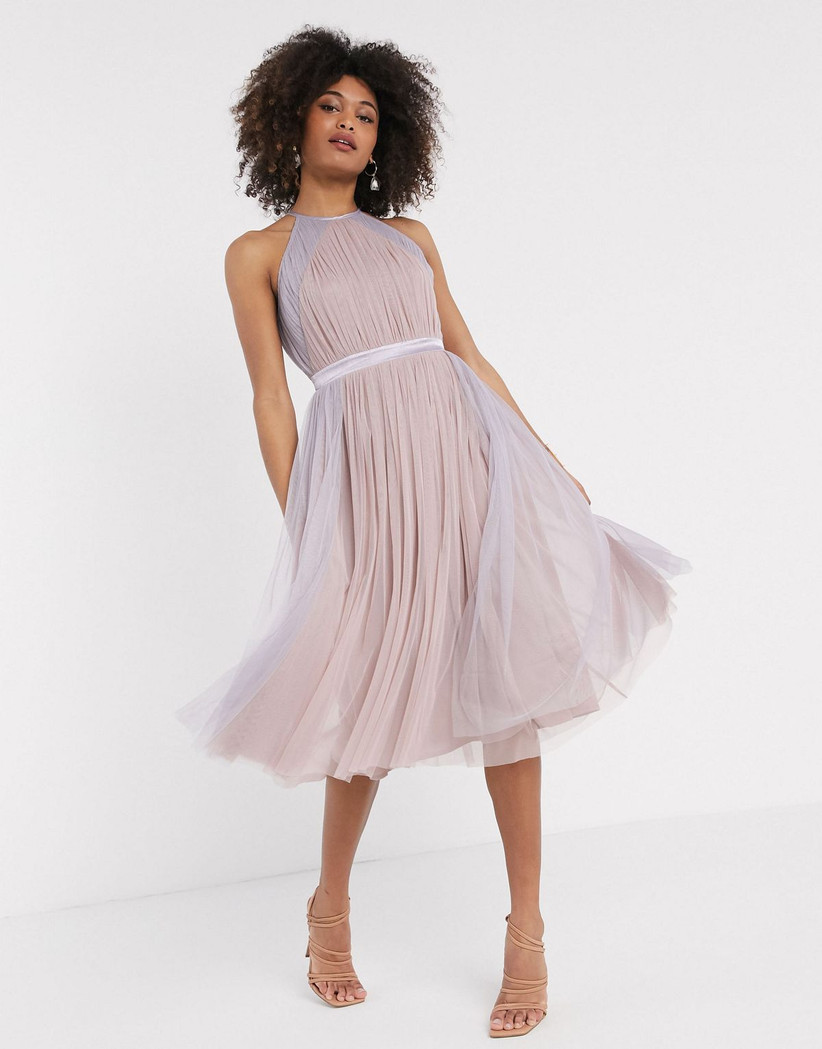 midi purple and pink tulle bridesmaid dress with halter neckline