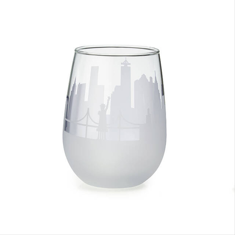 stemless wine glass engraved with city skyline