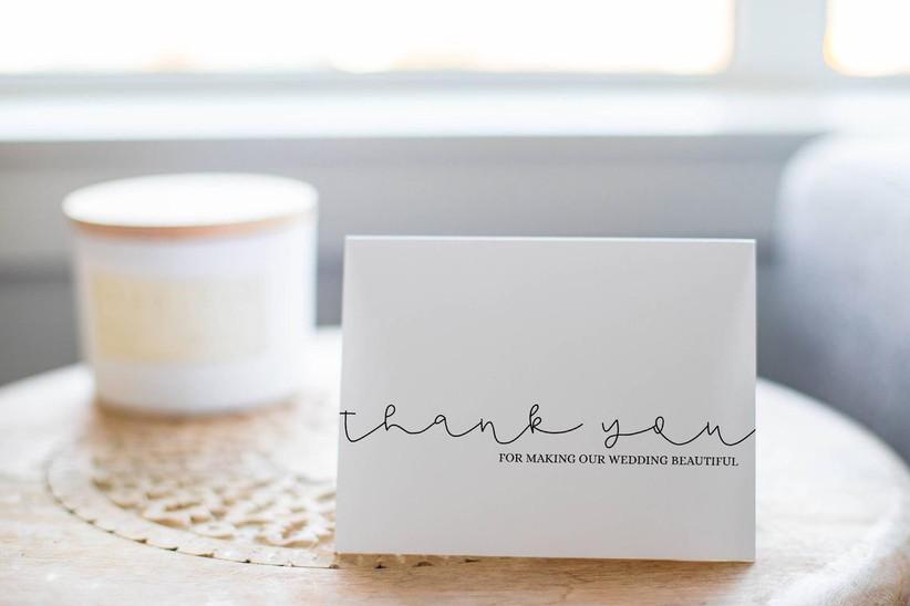 Thank-you card for wedding vendor