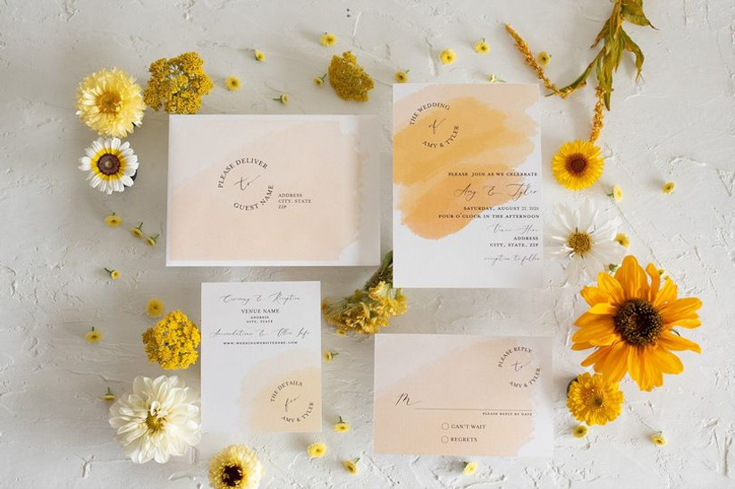 what to include in wedding invitations yellow-themed stationery with sunflowers