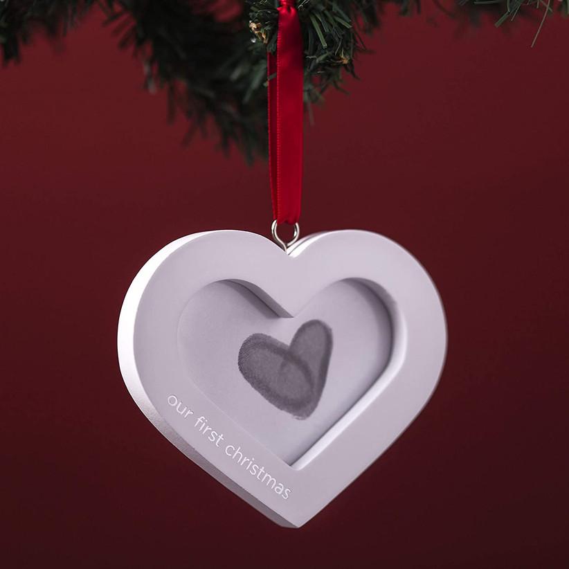 thumb print wedding christmas ornament