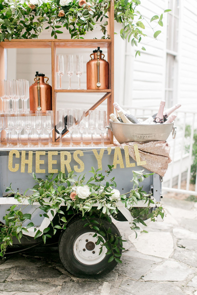 spring wedding idea outdoor champagne cart