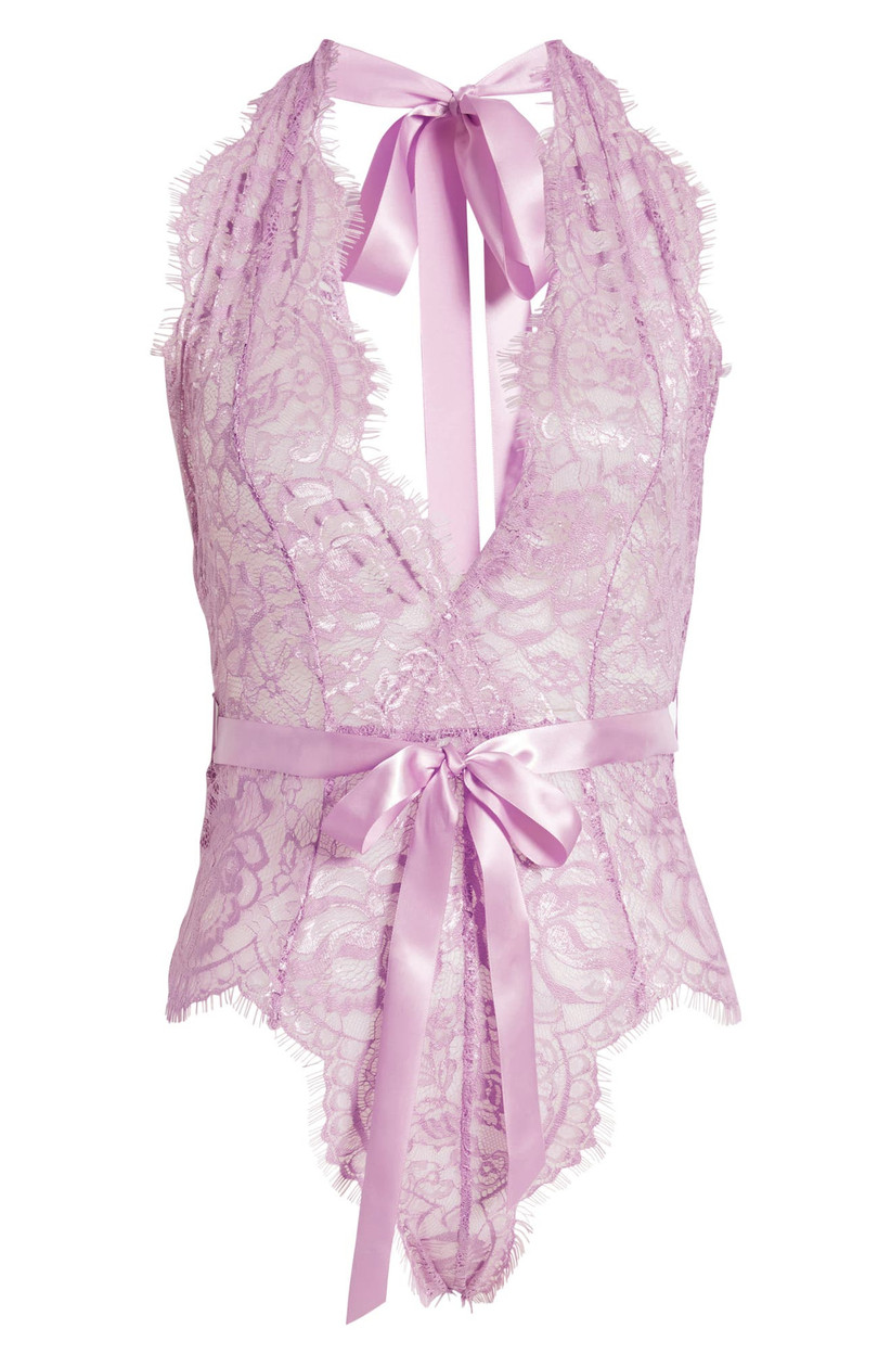 lace lilac purple bodysuit with satin bow at waist