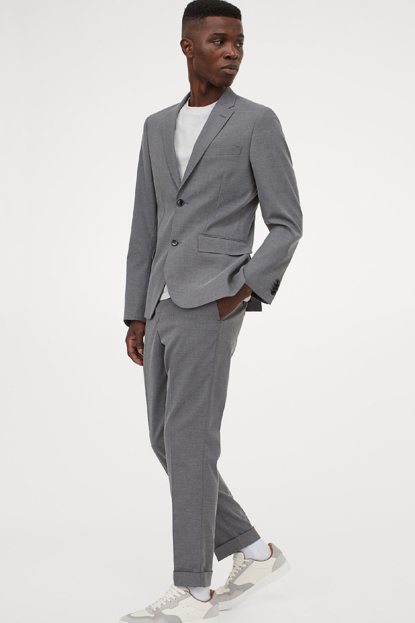 Light gray summer wedding suit