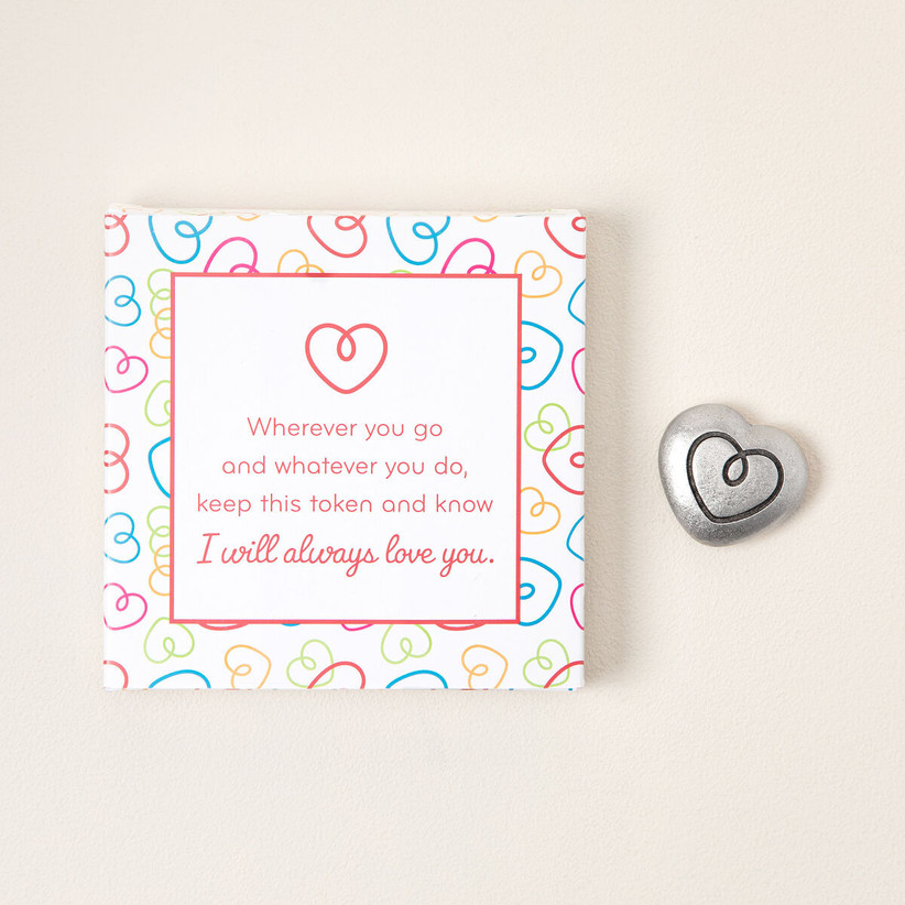 Cute heart print gift box with sweet message and mini heart charm