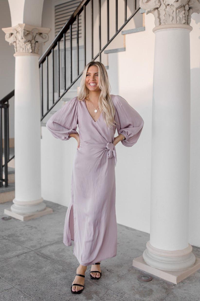 Blush maxi long-sleeve dress