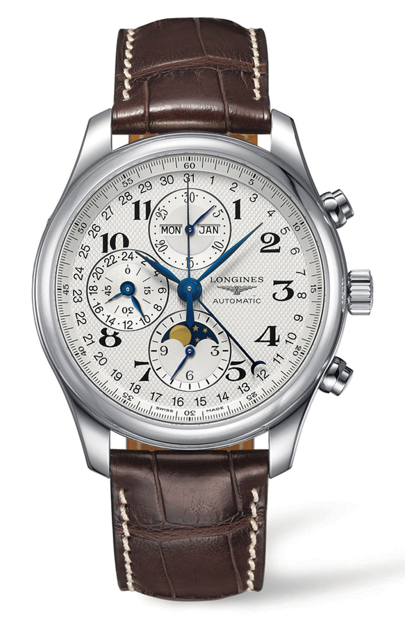 Longines automatic chronograph with leather strap