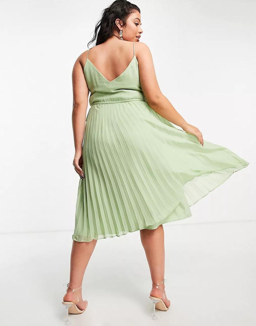 Sage green pleated midi dress