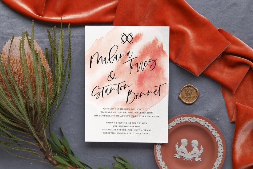 orange watercolor fall wedding invitation